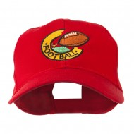 American Football Field and Ball Embroidered Cap - Red
