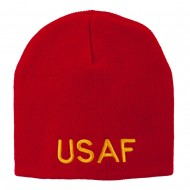 US Air Force Military Embroidered Short Beanie - Red