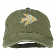 Angel Fish Embroidered Washed Dyed Cap - Olive Green