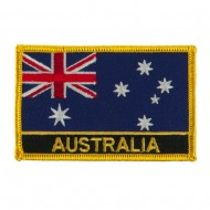Asia and Australia Flag Name Embroidered Patch - Australia