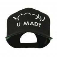 Angry Text Emoticon Embroidered Snapback Cap - Black