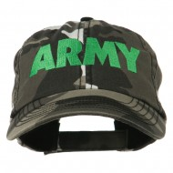US Army Embroidered Enzyme Washed Camo Cap - City