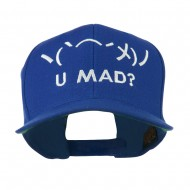 Angry Text Emoticon Embroidered Snapback Cap - Royal