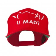 Angry Text Emoticon Embroidered Snapback Cap - Red