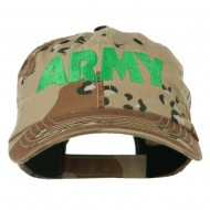 US Army Embroidered Enzyme Washed Camo Cap - Desert