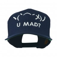 Angry Text Emoticon Embroidered Snapback Cap - Navy