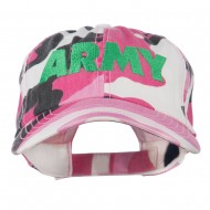 US Army Embroidered Enzyme Washed Camo Cap - Pink