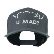 Angry Text Emoticon Embroidered Snapback Cap - Grey