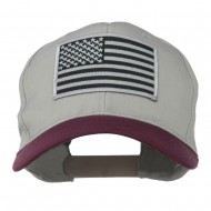 Grey American Flag Patched Pro Style Cap - Maroon Grey