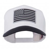 Grey American Flag Patched Pro Style Cap - Navy White