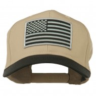 Grey American Flag Patched Pro Style Cap - Black Khaki