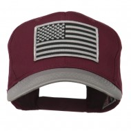 Grey American Flag Patched Pro Style Cap - Grey Maroon