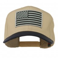 Grey American Flag Patched Pro Style Cap - Navy Khaki