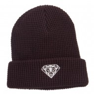 Big Size Diamond Embroidered Waffle Cuff Beanie - Brown