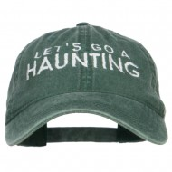 Let's Go A Haunting Embroidered Washed Cap - Dk Green