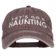 Let's Go A Haunting Embroidered Washed Cap - Brown