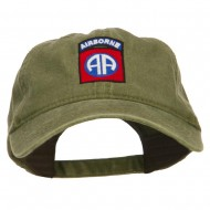 82nd Airborne Embroidered Washed Cap - Olive