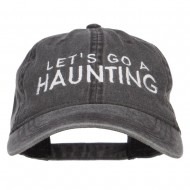 Let's Go A Haunting Embroidered Washed Cap - Black