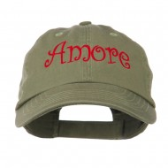 Wording of Amore Embroidered Cap - Olive