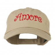 Wording of Amore Embroidered Cap - Khaki