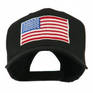 American Flag Embroidered Cap - Black