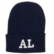 AL Alabama State Embroidered Long Beanie - Navy