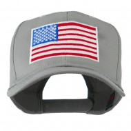 American Flag Embroidered Cap - Grey