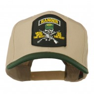 US Army Ranger Military Patched Two Tone High Cap - Green Khaki