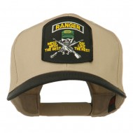 US Army Ranger Military Patched Two Tone High Cap - Khaki Black