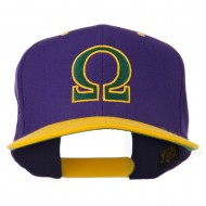 Greek Alphabet OMEGA Embroidered Cap - Purple Gold