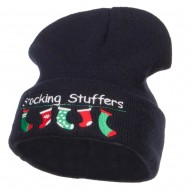 Christmas Stocking Stuffers Embroidered Long Beanie - Navy