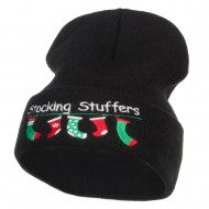 Christmas Stocking Stuffers Embroidered Long Beanie - Black