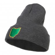 Ohio State Map Embroidered Long Beanie - Dk Grey