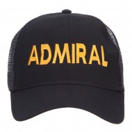 Admiral Embroidered Mesh Cap - Black