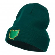 Ohio State Map Embroidered Long Beanie - Dk Green