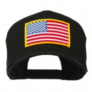 American Flag Patched High Profile Cap - Black