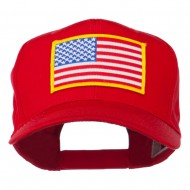 American Flag Patched High Profile Cap - Red