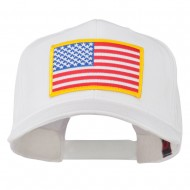 American Flag Patched High Profile Cap - White