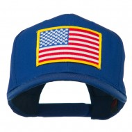 American Flag Patched High Profile Cap - Royal