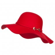 Poly Faux Felt Anchor Buckle Hat - Red
