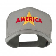 Wording of America with Star Embroidered Cap - Grey