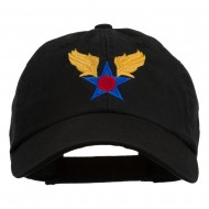 Army Air Corps Military Embroidered Washed Cap - Black