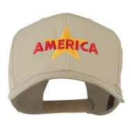 Wording of America with Star Embroidered Cap - Khaki