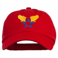 Army Air Corps Military Embroidered Washed Cap - Red