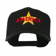 Wording of America with Star Embroidered Cap - Black