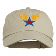 Army Air Corps Military Embroidered Washed Cap - Stone