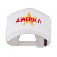 Wording of America with Star Embroidered Cap - White