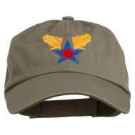 Army Air Corps Military Embroidered Washed Cap - Olive