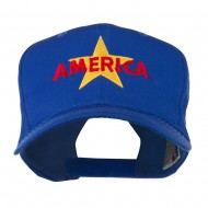 Wording of America with Star Embroidered Cap - Royal