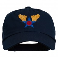 Army Air Corps Military Embroidered Washed Cap - Navy